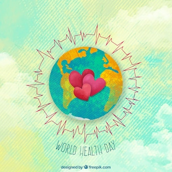 Fondo de acuarela del día de la salud con mundo y corazones