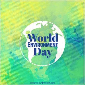 Fondo de acuarela del día mundial del medio ambiente