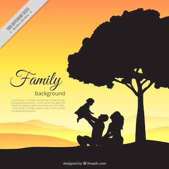 Fondo de adorable escena de familia con bebé en el campo al atardecer