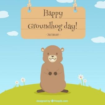 Fondo de adorable feliz día de la marmota