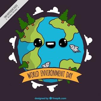 Fondo de adorable mundo dibujado a mano con árboles
