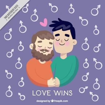 Fondo de adorable pareja con símbolo