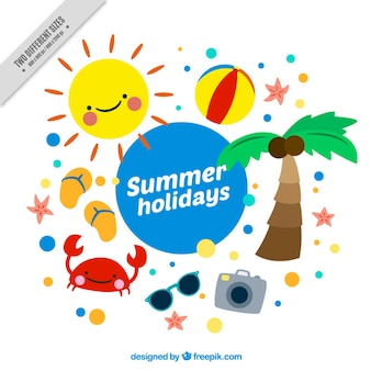 Fondo de adorables elementos de verano dibujados a mano