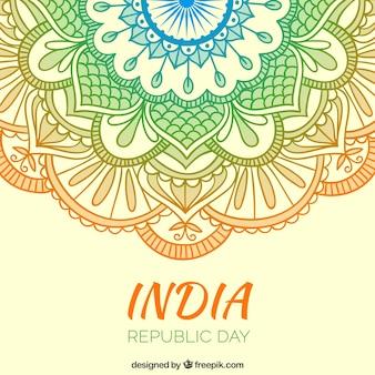 Fondo de adornos de colores del Día de la República India