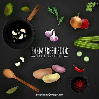 Fondo de alimentos frescos de granja