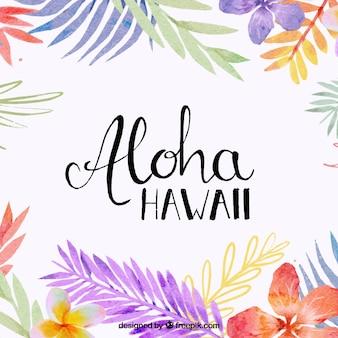 Fondo de aloha con hojas en acuarela