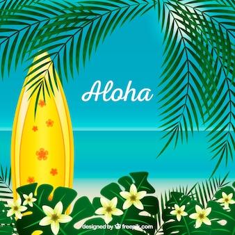 Fondo de aloha con palmera y tabla de surf