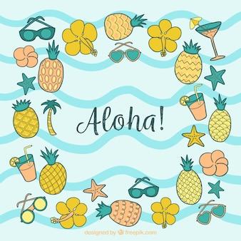 Fondo de aloha con piñas y flores dibujadas a mano