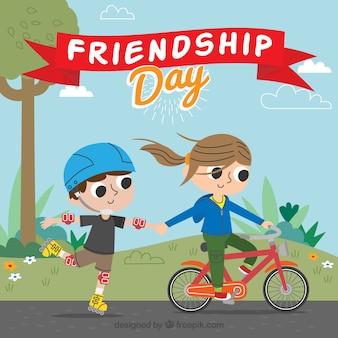 Fondo de amigos divirtiéndose al aire libre