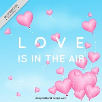 Fondo de amor de globos de corazones