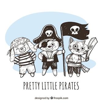 Fondo de animales piratas dibujados  a mano