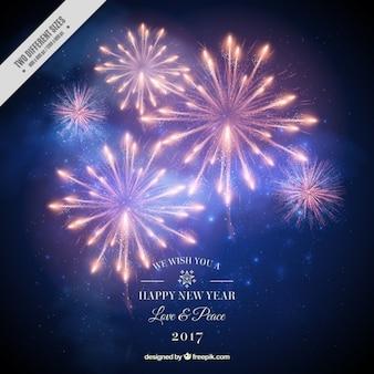 Fondo de año nuevo 2017 fuegos artificiales en estilo realista