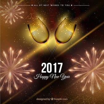 Fondo de año nuevo brillante realista
