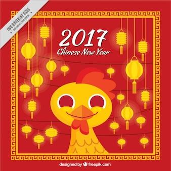 Fondo de año nuevo chino con faroles y polluelo sonriente