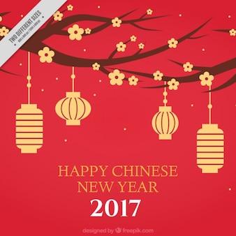 Fondo de año nuevo chino con flores y faroles colgando