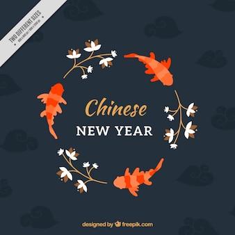 Fondo de año nuevo chino con peces y plantas