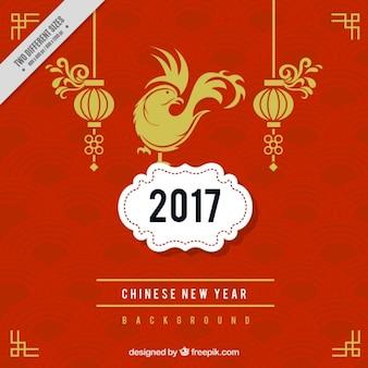 Fondo de año nuevo chino fantástico con formas geométricas rojas