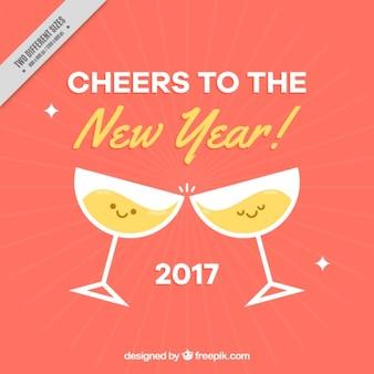 Fondo de año nuevo con dos vasos simpáticos