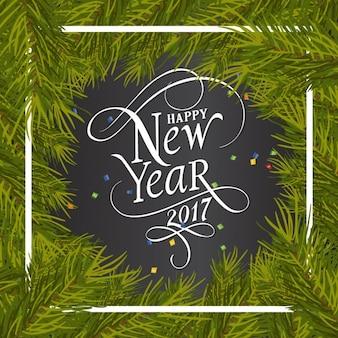 Fondo de año nuevo con marco de pino