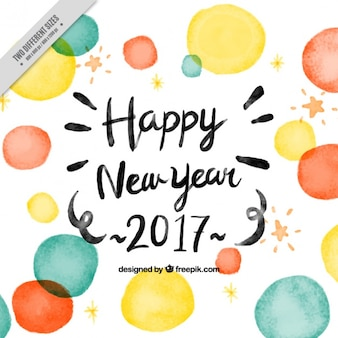 Fondo de año nuevo de círculos de acuarela