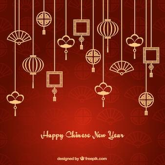 Fondo de año nuevo de guirnaldas de adornos asiáticos