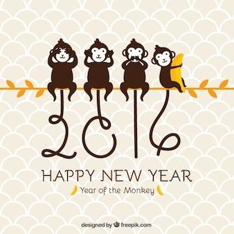 Fondo de año nuevo de monos en una rama