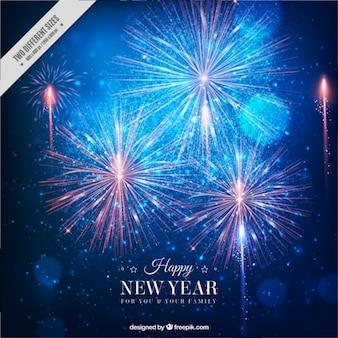 Fondo de año nuevo fantástico con fuegos artificiales brillantes