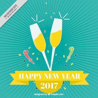 Fondo de año nuevo vintage de copas con champagne