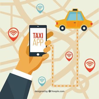 Fondo de aplicación de taxi con gps