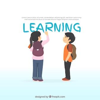 Fondo de aprendizaje con niña escribiendo