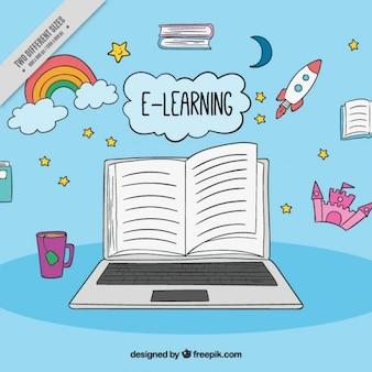 Fondo de aprendizaje digital de artículos dibujados a mano