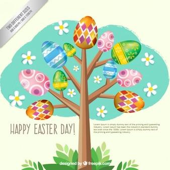 Fondo de árbol de huevos de Pascua