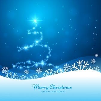 Fondo de árbol de navidad brillante en color azul