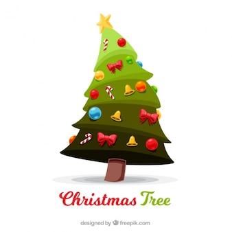 Fondo de árbol de navidad con bonitos adornos