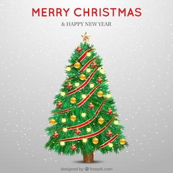 Fondo de árbol de navidad de bonitas bolas decorativas