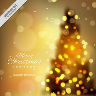 Fondo de árbol de navidad desenfocado con efecto bokeh