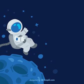Fondo de astronauta flotando