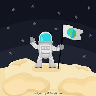 Fondo de astronauta sobre la luna