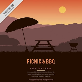 Fondo de atardecer de picnic y barbacoa