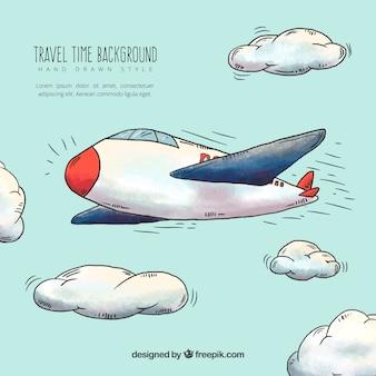 Fondo de avión volando dibujado a mano