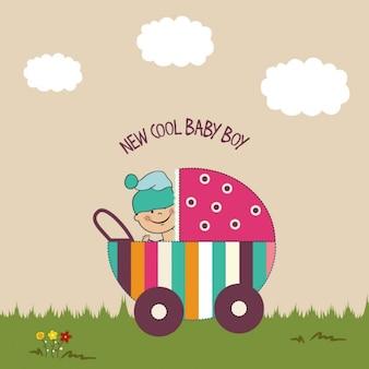 Fondo de baby shower con un carrito de bebé