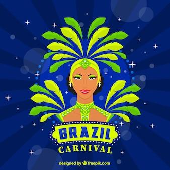 Fondo de bailarina brasileña dibujada a mano