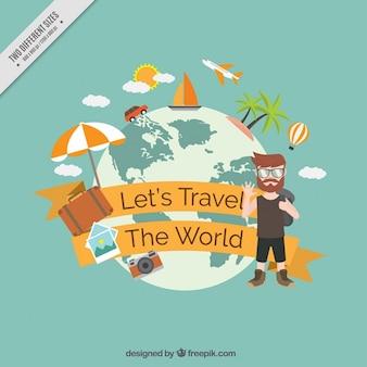 Fondo de bamos a viajar alrededor del mundo