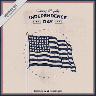 Fondo de bandera americana dibujada a mano