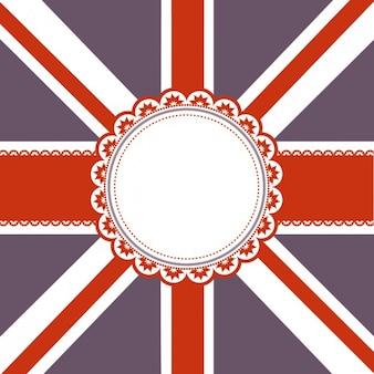 Fondo de bandera británica con una insignia