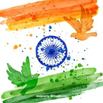 Fondo de bandera de india y palomas de acuarela