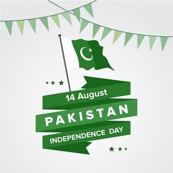 Fondo de bandera de pakistán y cinta