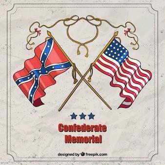Fondo de banderas del día de los héroes confederados