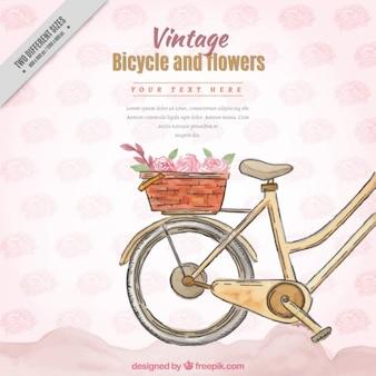 Fondo de bici dibujada a mano de acuarela con cesta en estilo vintage