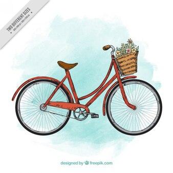 Fondo de bici retro dibujada a mano de acuarela con cesta
